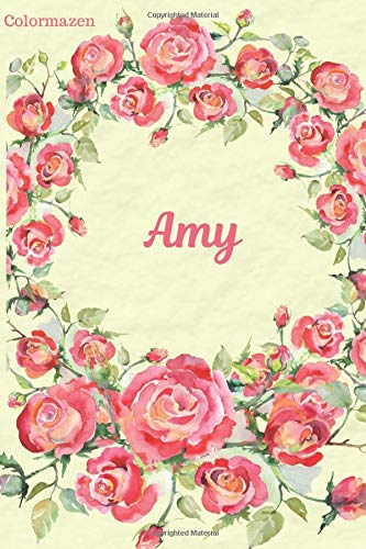 Amy: Red Rose Personalised Notebook (Small)
