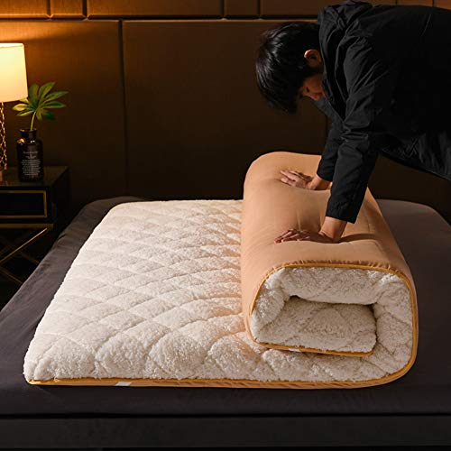 YQ WHJB Skin-friendly Floor Futon Mattresses, Thicken Lamb Velvet Sponge Matt Mat Student Dormitory Floor Beds Sleeping Pad-white-8cm King: 180x200cm(71x79inch)