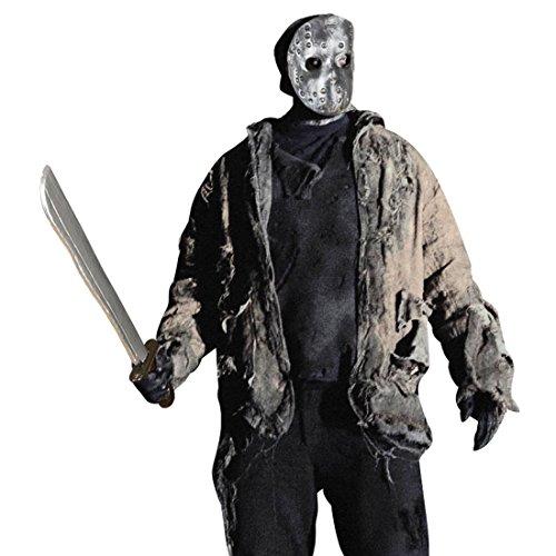 NET TOYS Jason Maske und Machete Halloweenmaske und Säbel Horrormaske und Messer Mörder Waffe Halloween Hockeymaske Horror Kostüm Zubehör