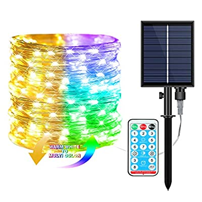 HLHome Solar String Lights Outdoor,66ft 200 LEDs 8 Modes Waterproof Solar Fairy Lights with Remote Control,Warm White & Multi Color Christmas String Ligh for Patio Yard Christmas Trees Party Decor