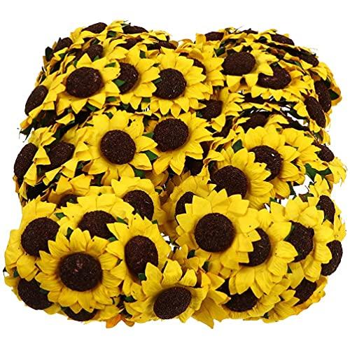 STOBOK 2 Paquetes de Girasol Ramo de Flores Artificiales Decoración de Girasol Falso Simulación de Girasol para La Decoración del Regalo de La Fiesta del Hogar de La Boda