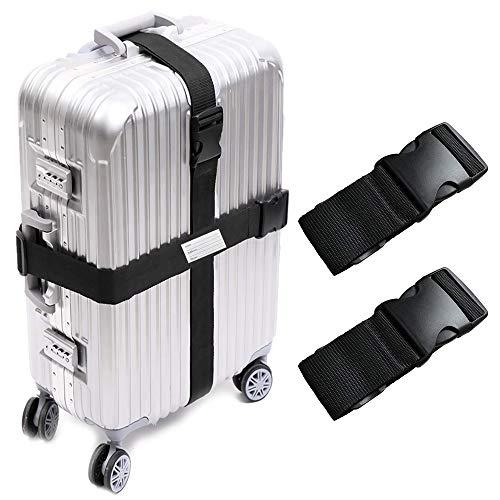 UACEN 2本セット 黒 スーツケースベルト 荷物ストラップ ワンタッチ式 トランクベルト 調整可能 荷物固定バックル ネームタグ付き 出張 旅行用品 梱包ベルト バッグストラップ
