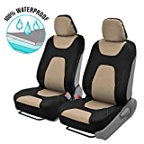 Motor Trend AquaShield Car Seat Covers for Front Seats, Beige – 3 Layer Waterproof Seat Covers, Neoprene Material with Modern Sideless Design, Universal Fit for Auto Truck Van SUV