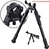 "TriRock 8""-10"" Clamps on Barrel Foldable Adjustable Extendable Bipod Shooting Stand with Tube"