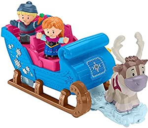 Fisher-Price Disney Frozen Kristoff\'s Sleigh by Little People, Figure and Vehicle Set