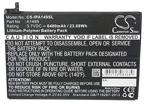 Cameron Sino 3.7V/6400mA A1489,A1512 Replacement Battery for Apple A1489,A1490,A1599,A1600,A1601,iPad Mini 2,iPad Mini 3,iPad Mini 3 3G,iPad Mini 3 WiFi Battery