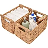 """StorageWorks Hand-Woven Storage Baskets with Wooden Handles, Water Hyacinth Wicker Baskets for Organizing, Medium,13"""" x 8.3"""" x 7.1"""", 2-Pack"""