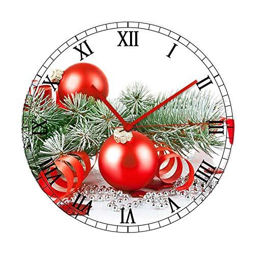 Christmas Decoration Christmas Red Ball Acrylic Wall Clock Wall Decoration Clock