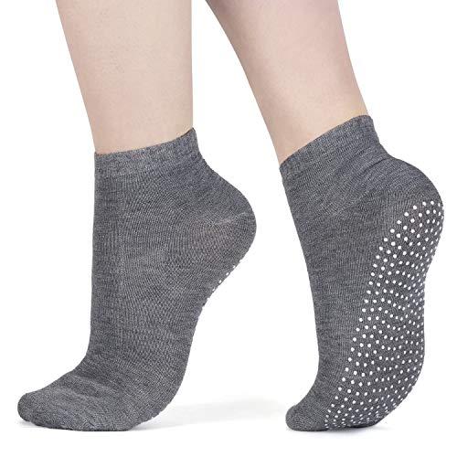 3 x Pairs Non Slip Yoga Pilates Socks Martial Arts Fitness Dance Barre. Anti-slip/Non-slip,Full Toe Ankle Fall Prevention Grip Socks, Sox UK 4-9 / EU 38-44 by AllThingsAccessory®