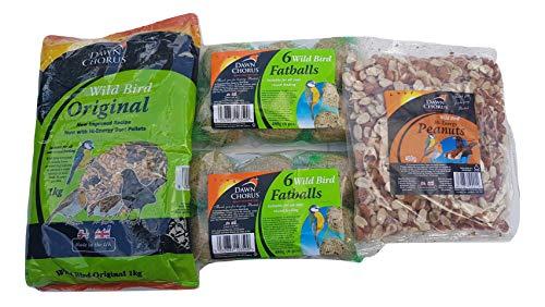 Wild Bird Food Winter Bundle Original Seed Mix 1kg, Hi-Energy Peanuts 450g, 12 x Fat Balls British Made No Mess Selection by Kingdom Supplies