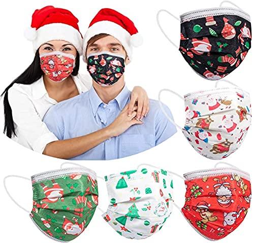 Rousig Maske Einwegmasken 50 stück für Erwachsene, CE Zertifiziert, Bunt Mundschutz, 3 lagig Mund Nasen Schutzmaske,Einweg-Gesichtsmaske (Weihnachtsmaske)