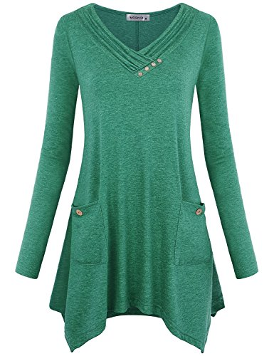 MOQIVGI Handkerchief Tops for Women,Chic Long Sleeve Cowl Neck Simple Basic Solid Color Work Blouses Button Embellished Draped Flowy Misses Hi Low Aline Tunic Sweatshirts with Pockets Green Medium