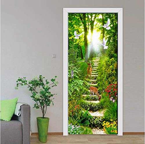 MNJKH Türaufkleber Wandbild, wasserdicht Selbstklebende 3D-Türaufkleber Forest Path Landscape Painting Aufkleber Wohnzimmer Tür Wallpaper Poster Home Decor
