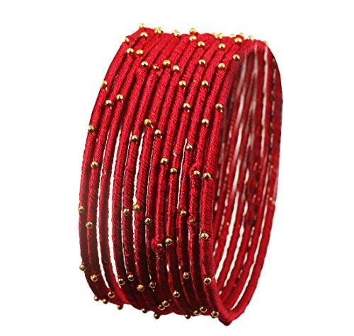 Touchstone Seidenfaden Armreif Kollektion handgefertigten Kunstseidenfaden exotischen Look mit Perlen Lippenstift rot Designer Armreifen Armbänder für Damen 2.37 Set von 12 rot