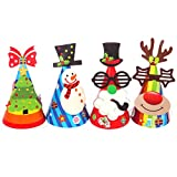 TOYMYTOY 12 Stück Weihnachtsmütze Partyhütchen Partyhüte Papierhüte Hüte für Kinder Weihnachten Party DIY (Weihnachtsmann / Rentier / Weihnachtsbaum / Schneemann)
