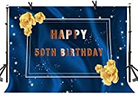Zhy Men s 50th Birthday Backdrop 7X5FT Golden Flowers Blue Photography Background YouTube Photo Studio Prop Wallpaper LLST169