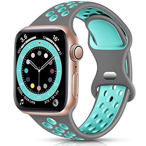 Epova Sport Cinturino in Silicone Compatibile con Apple Watch 44mm 42mm, Traspirante Cinturini di Ricambio per iWatch SE Series 6 5 4 3 2 1, Grigio/Teal, Grande