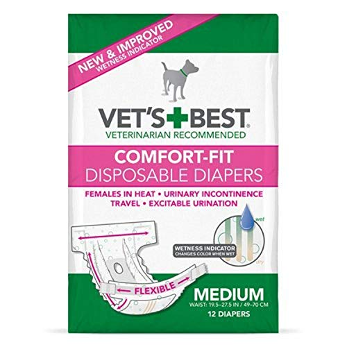 Vet's Best Comfort Fit Dog Diapers | Disposable Female Dog Diapers | Absorbent with Leak Proof Fit | Medium, 12 Count