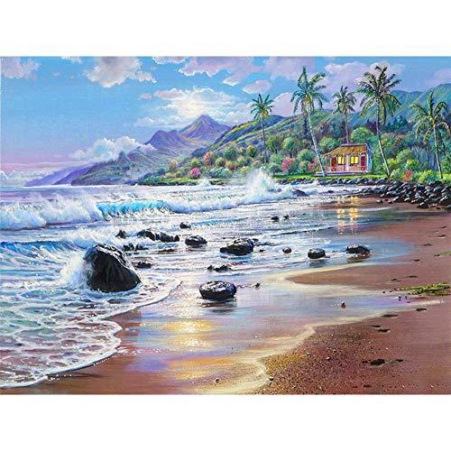 Lazodaer Kit de pintura de diamante redondo completo 5D para adultos y principiantes, bordado artesanal, playa rocosa 15.7 x 11.8 pulgadas
