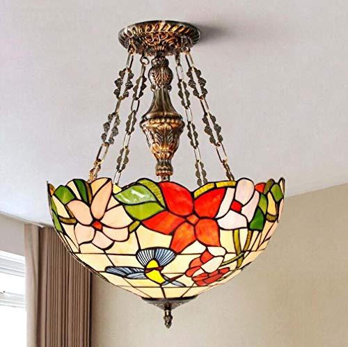 Hanglamp tiffany stijl plafond hanglamp semi inbouw glas in lood kolibrie kap retro kroonluchter 3-5 licht voor eetkamer woonkamer slaapkamer,B16inches