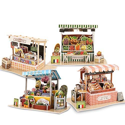 RENLEINB 3D Dreidimensionale Puzzles, Erstellen von Modellen, Französisch World Style Puzzles, Kinder-Bildungs-Puzzles, Rechtschreibung Spielzeug, (Color : D)