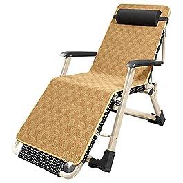 Chaises longues Chaises Pliantes Fauteuils L'été Pliante avec Coussin en Rotin, Énorme Chaises de Jardin Inclinables…