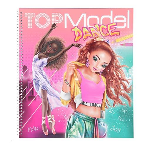 Depesche 11453 TOPModel målarbok Dance, coola danskläder att designa själv, 30 ritade figuriner, 3 stenciler, 2 klistermärkesark och 8 tygtryck att skära ut