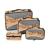 Organizador de Equipaje Conjunto de Cubos de Embalaje Violonchelo en una Hoja de música Antigua Oxidado Viejo Amarillo Paquete de Mano Organizador de Embalaje Cubo de Almacenamiento de Viaje Organiza