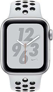 ساعة ابل سيريس 4 نايكي + - 44 ملم هيكل فضي من الألومنيوم مع سوار رياضي من البلاتينيوم / الأسود الخالص، نظام تحديد المواقع ...
