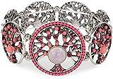 styleBREAKER Lebensbaum Gummizug Armband mit Perlen und Strass besetzten Amuletten, Boho Style, Damen 05040060, Farbe:Koralle