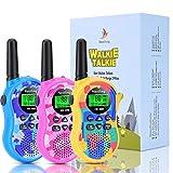 Nestling Walkie Talkie Niños, Camuflaje al Aire Libre 8 Canales LCD Pantalla Linterna Incorporado VOX, Rango de 3KM, 10 Tonos de Llamada Walkie Talkie Niñas Juguete Regalo (3pcs Coloreado)