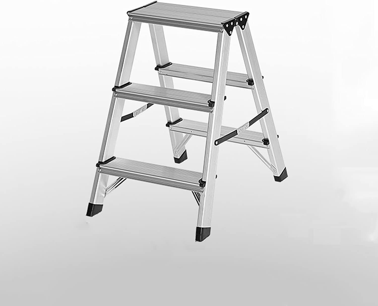 PENGFEI Folding Ladder Stools Stairs Multifunction Home Kitchen Ascend Footstool Pedal Easy Storage 2 3 4 Steps Aluminum Alloy Furniture (color   3 Steps)
