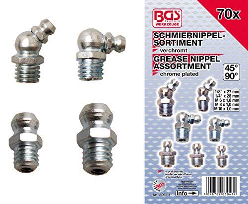 BGS 8065-1 | Schmiernippel-Sortiment | metrisch/Zollgrößen | 70-tlg.