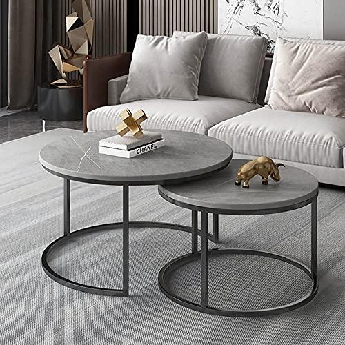 Mesa de centro de mármol, mesa de salón creativa móvil, mesa de esquina redonda, mesita de noche para dormitorio, mesa nido, ahorro de espacio/estructura de metal/B / 60+45cm