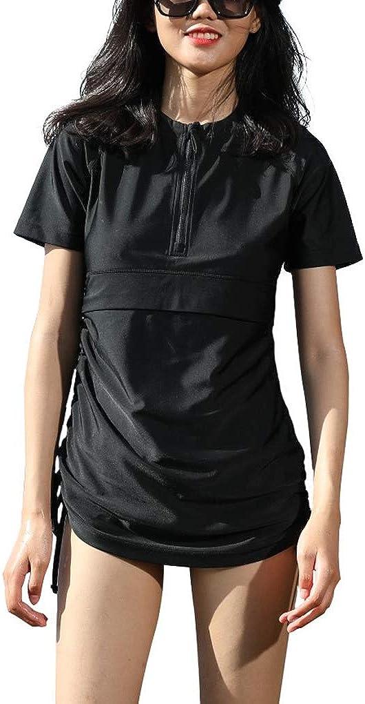 Cityoung Women Half-Zip Short Sleeve Quick Dry Rash Guard Pocket UPF 50 Surfing Swimwear Top