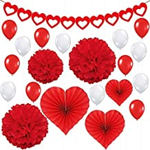 Valentines Day Party Decorations Kit – Pack of 21 | Red Heart Felt Garland Banner, Heart Paper Fans, Paper Pompoms, Red and White Latex Balloons | Great for Valentines Décor and Anniversary Backdrop