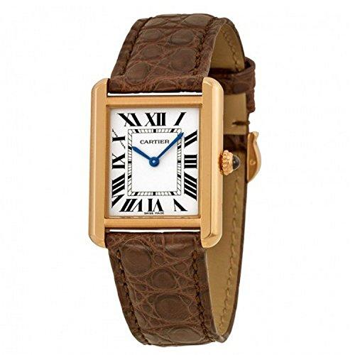 Cartier Tank Solo zilveren wijzerplaat bruin lederen band dames horloge W5200024