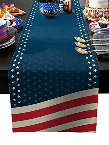 YEHO Art Gallery Tischläufer mit klassischer amerikanischer Flagge, Veteranen, rutschfest, modern, für Familienessen, Küche, Büro, Dekoration, 33 x 177,8 cm