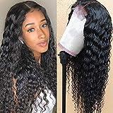 Guebb Brazilian Deep Wave Lace Closure Wigs Human Hair Wigs 4X4 Human Hair Deep Wave Wigs Wet and Wavy Lace Front Wigs for Black Women Natural Color(24 Inch)
