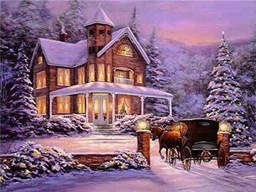 Pintura de diamante de invierno punto de cruz paisaje bordado de diamantes nieve mosaico de diamantes de imitación diseño completo decoración del hogar arte A9 50x70cm