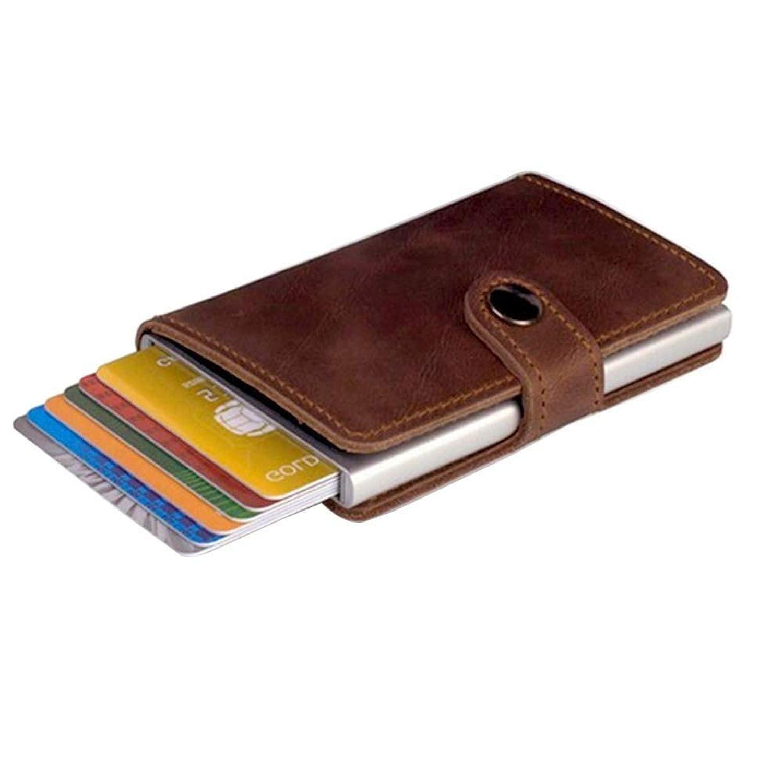 カードケース 財布 磁気防止 RFID 名刺入れ スキミング防止 スリム カードホルダー 本革+アルミニウム材質 小型 プレゼントに最適 高級レザー