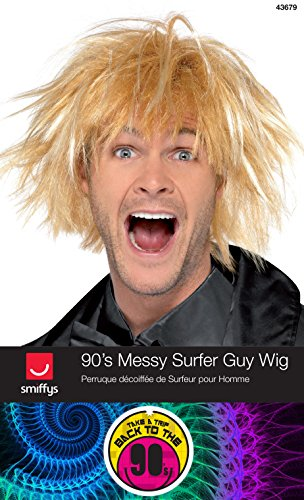Smiffys Men's One Size 90s Messy Surfer Guy Wig, Blonde