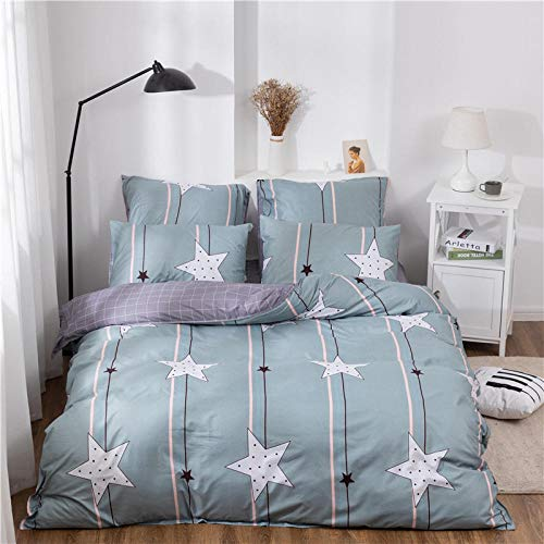 Fadaseo Cot Bed Duvet Cover Double 200 X 200 Cm 3D Printing Simple Striped Stars 3 Pieces Bedding Set. Easy Care And Super Soft Cotton Design.With 2 Pillowcases Hypoallergenic