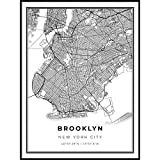Skanndi Brooklyn Map Print, New York City NYC NY USA Map Art Poster, Modern Wall Art, Street Map Artwork 9x11