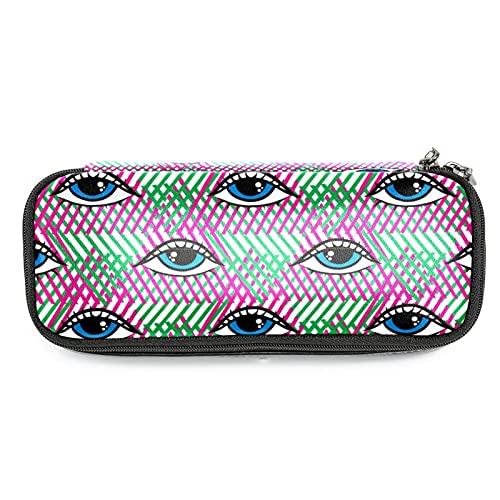 Estuche Escolar Ojos graciosos Bolsa de Lápiz Maquillaje Organizador de Papelería Multifuncional para Escolares y Oficina 19x7.5x3.8cm