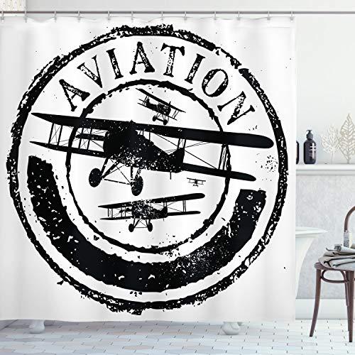 ABAKUHAUS Weinlese-Flugzeug Duschvorhang, Luftfahrt Retro, mit 12 Ringe Set Wasserdicht Stielvoll Modern Farbfest & Schimmel Resistent, 175x220 cm, Weiß & Schwarz