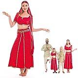 Disfraz Hindú Mujer Sari Rojo India Bollywood【Tallas Adultos de S a L】[Talla S] Disfraz Carnaval Mujer Nacionalidades India Árabe Fiesta Actuaciones Desfiles Festivales