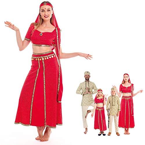 Disfraz Hind Mujer Sari Rojo India BollywoodTallas Adultos de S a L[Talla S] Disfraz Carnaval Mujer Nacionalidades India rabe Fiesta Actuaciones Desfiles Festivales
