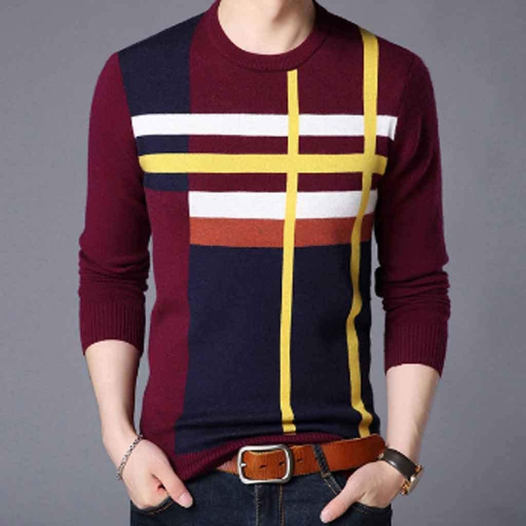 ZYING Brand Sweater for Mens Pullover Neck Slim Fit Jumpers Knitred Woolen Winter Korean Style Casual Mens Clothes (Color : XL Code)