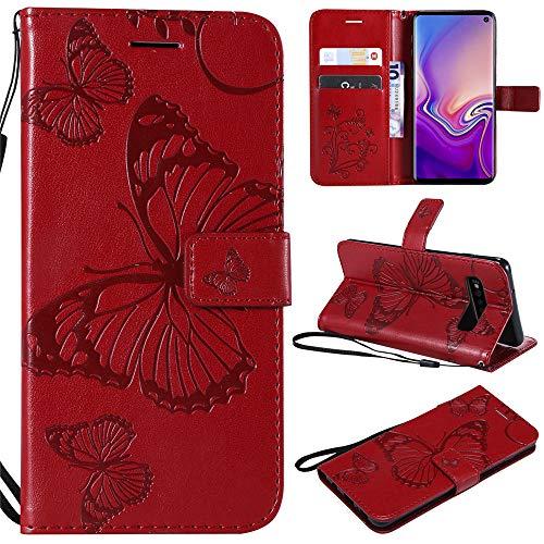 Capa carteira G8s ThinQ em relevo 3D borboleta PU couro flip capa para telefone LG G8 ThinQ - Vermelho